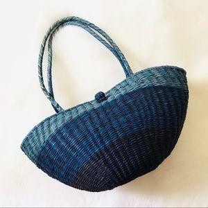 Vintage Blue Ombré Basket Straw Tote Bag